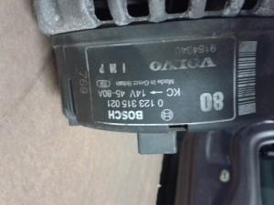 Alternatore BOSCH 0123315021 VOLVO 9164640 80A Volvo  V40 del 1997 1731cc.   da autodemolizione