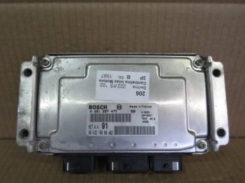 Centralina Motore Bosch 0261207477 9643218980 Peugeot  206 del 2002 1587cc. 16V  da autodemolizione