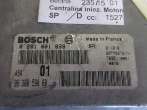 Centralina Motore Bosch 0281001839 9630059880 Citroen  Saxo del 2001 1527cc.   da autodemolizione