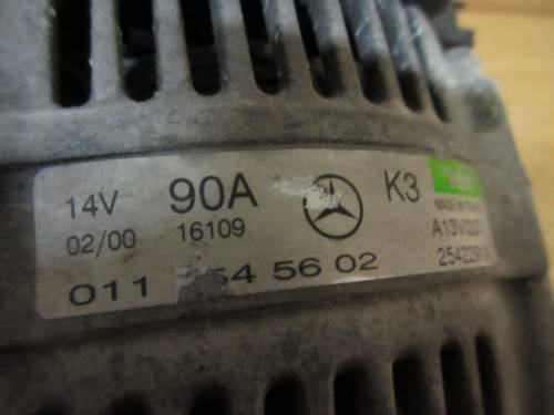 Alternatore Valeo 0111545602 A13VI237 2542291A 14V 90A Mercedes-Benz  A 160 del 2000 1600cc.   da autodemolizione