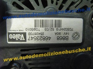 Alternatore VALEO TG9S010 B868 46823547 Lancia  Ypsilon del 2004 1300cc.   da autodemolizione