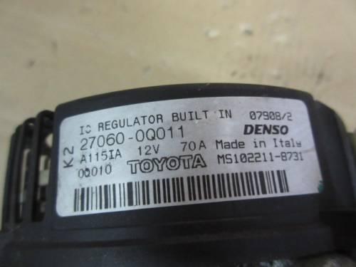 Alternatore Denso 270600Q011 A115IA 12V 70A MS102218731 Toyota  Aygo del 2008 998cc.   da autodemolizione