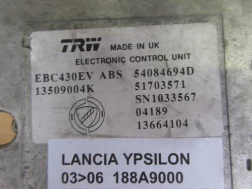 Centralina Abs  TRW EBC430EV 13509004K 54084694D 51703571 SN10335 Lancia  Ypsilon del 2004 1248cc. MJET  da autodemolizione