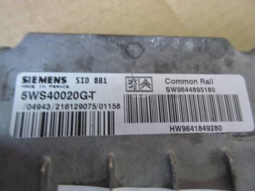 Centralina Motore Siemens SID 881 5WS40020 GT SW 9644895180 HW 96418 Da Peugeot  307 del 2001 1997cc. HDI Usata da autodemolizione