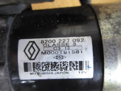 Motorino Avviamento Mitsubishi 8200227092 C313 M000T91581 12V Renault  Clio del 2003 1461cc. TDCI  da autodemolizione