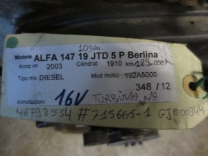 Motore 192A5000 Da Alfa Romeo  147 del 2003 1910cc. JTD 16V. Usato da autodemolizione