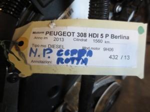 Motore 9H06 Peugeot  308 del 2013 1560cc. HDI  da autodemolizione