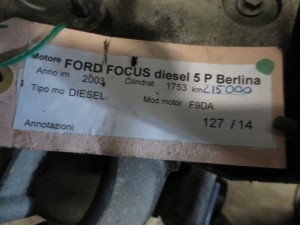 Motore F9DA Ford  Focus del 2003 1753cc.   da autodemolizione