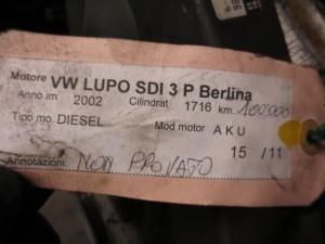 Motore AKU Volkswagen  Lupo del 2002 1716cc. SDI  da autodemolizione