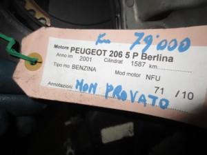 Motore NFU Da Peugeot  206 del 2001 1587cc.  Usato da autodemolizione