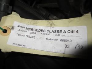 Motore 668940 Mercedes-Benz  A 170 del 1999 1700cc.   da autodemolizione