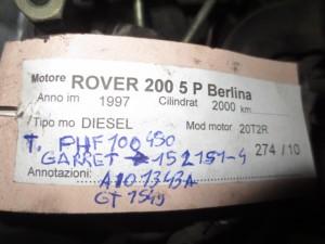 Turbina Garret GT1549 AI01343A 152151-4 PHF100450 Rover  200 del 1997 2000cc.   da autodemolizione