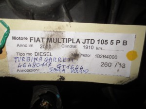 Turbina Garrett GT1544  4648117 Fiat  Multipla del 2000 1910cc.   da autodemolizione