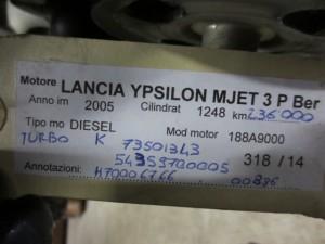 Turbina K73501343 54359700005 H70006766 00886 Lancia  Ypsilon del 2005 1248cc. MJET  da autodemolizione