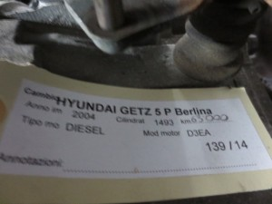 Cambio ZE5K Hyundai  Getz del 2004 1493cc. CRDI  da autodemolizione