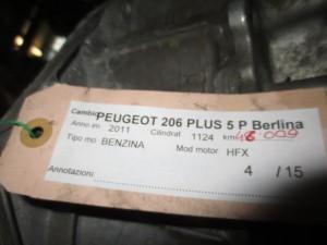 Cambio Peugeot  206 del 2011 1124cc. plus  da autodemolizione