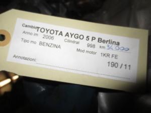 Cambio Toyota  Aygo del 2006 998cc.   da autodemolizione