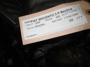 Cambio Fiat  Seicento del 2000 900cc.   da autodemolizione