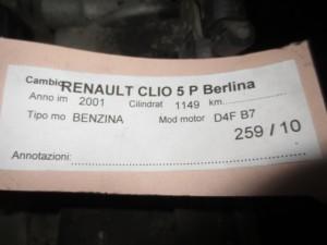 Cambio Renault  Clio del 2001 1149cc.   da autodemolizione