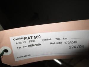 Cambio Fiat  Nuova 500 del 1995 700cc.   da autodemolizione
