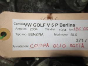 Cambio 6449911 1018 09G 300036Q 40D2T07371 Volkswagen  Golf 5 del 2004 1984cc.   da autodemolizione