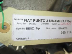 Motore 188A4000 Fiat  Punto del 2003 1242cc.   da autodemolizione