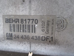 Intercooler Opel  Zafira del 2003 2172cc. Dti  da autodemolizione